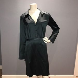 Ann Taylor sage / dark teal green shirt dress